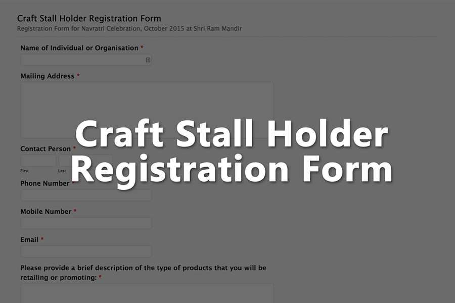 Craft Stall Holder Registration Form